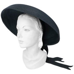 1930s Saks Fifth Ave. Black Straw Picture Hat