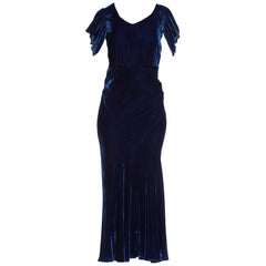 1930S Sapphire Blue Bias Cut Silk Velvet Draped Cap Sleeve Gown
