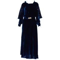 1930S Sapphire Blue  Bias Cut Silk Velvet Gown With Burnout Sleeves & Back As-I