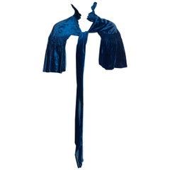 1930S Sapphire Blue  Silk Velvet Smocked Ruffle Bow Neck Cape