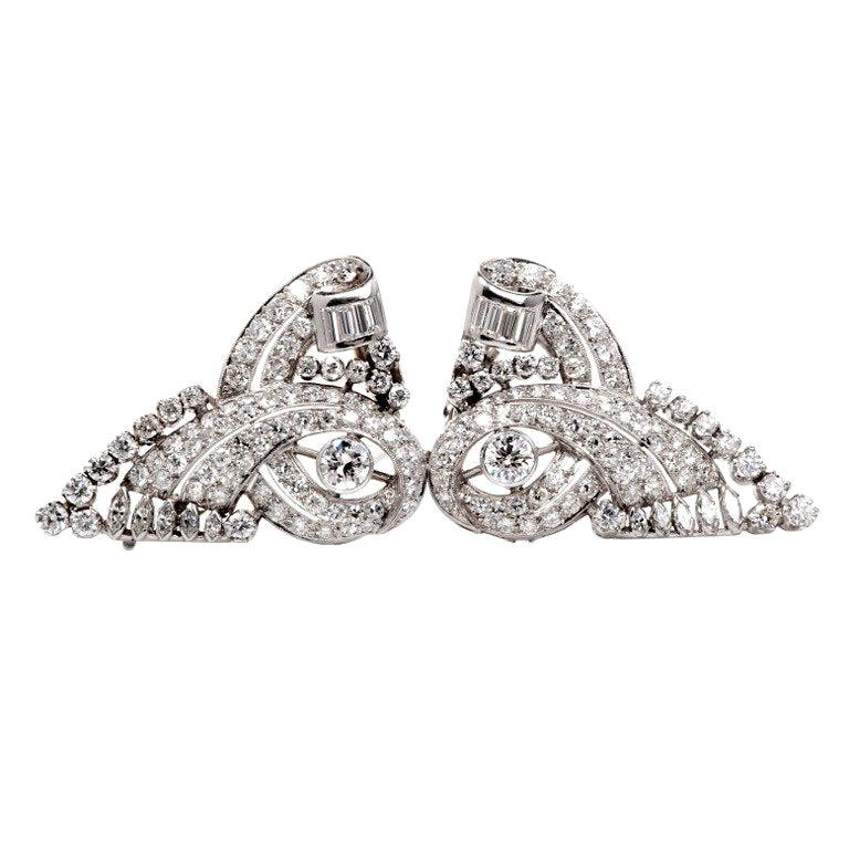 1930s Scroll Diamond Platinum Double Clip Pin Brooch For Sale