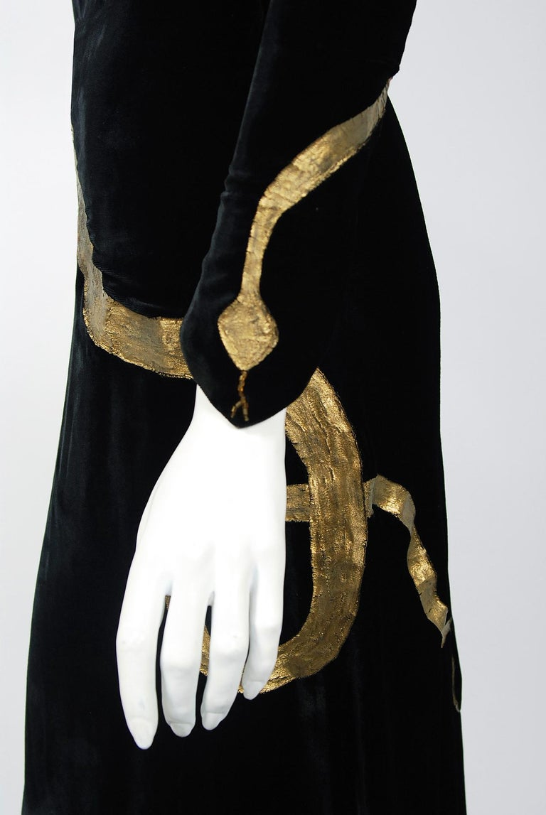 1930's Sears Autographed Fashions Hand-Painted Gold Snake Black Velvet Gown    2