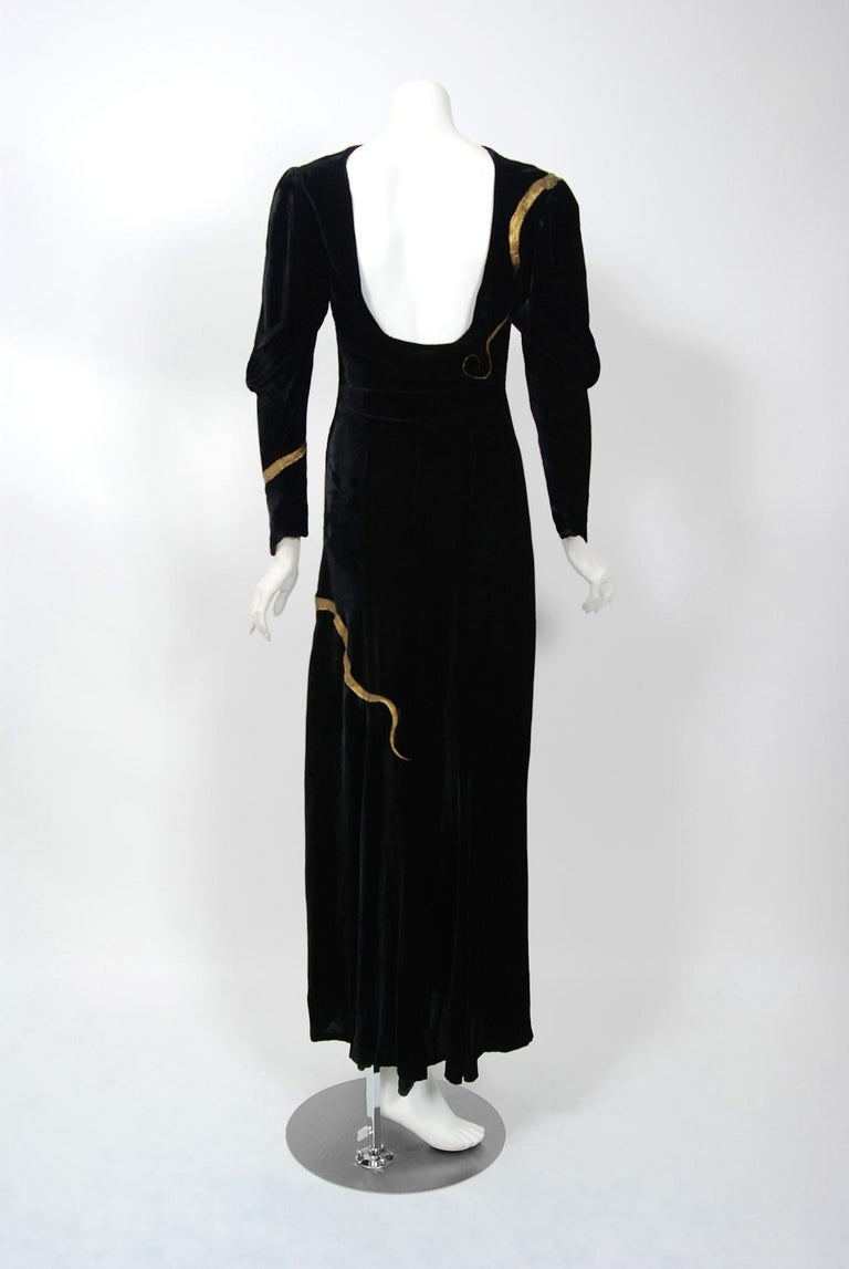 1930's Sears Autographed Fashions Hand-Painted Gold Snake Black Velvet Gown    5