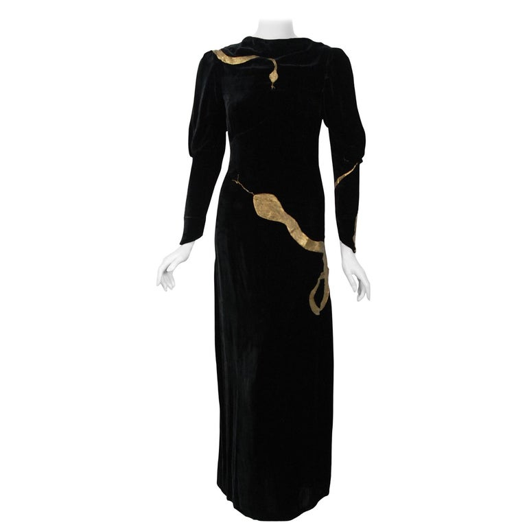 1930's Sears Autographed Fashions Hand-Painted Gold Snake Black Velvet Gown