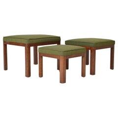 1930s 'Set 3' Parker Knoll PK 569 Art Deco Oak Nesting Stools Chairs in Kvadrat