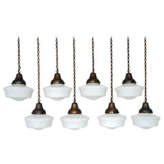 1930s Set of 8 White Opaline Glass Brass Chapel Lights Industrial Art Deco