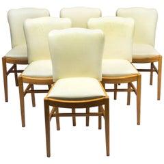 1930s Set of Six Art Deco Bird's-Eye Maple Dining Chairs