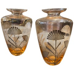1930s Set of Two Art Deco Silver and Orange Glass Italian Vases