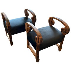 1930s Set of Two Art Deco Wood and Black Velvet Italian Poufs