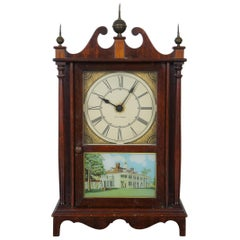 1930s Seth Thomas Kingsbury Pillar Scroll Electric Mantel Clock Reverse Painted