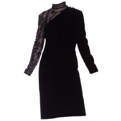 1930's Sheer Beaded Sleeve Velvet Cocktail Dress