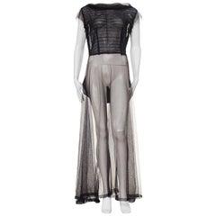 1930s Sheer Black Net Gown with Taffeta Peplum Bow