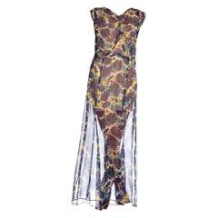 1930's Sheer Navy Blue Rose Silk Chiffon Floral Dress