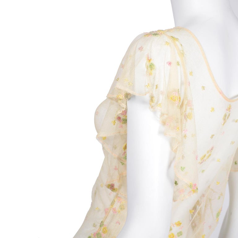 1930s Sheer Vintage Net Lace Dress w Butterfly Sleeves Embroidered w Flowers For Sale 7
