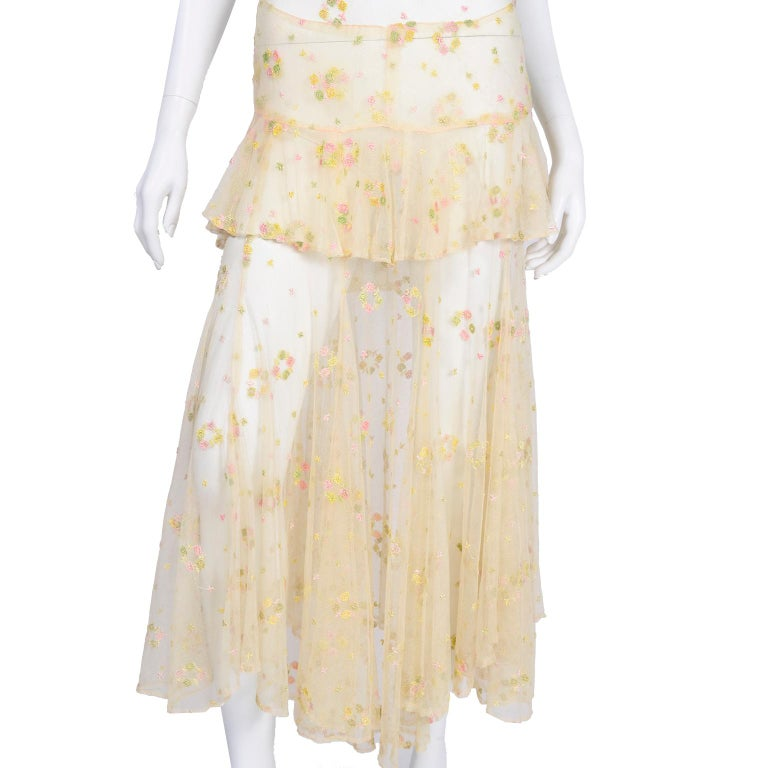 1930s Sheer Vintage Net Lace Dress w Butterfly Sleeves Embroidered w Flowers For Sale 9