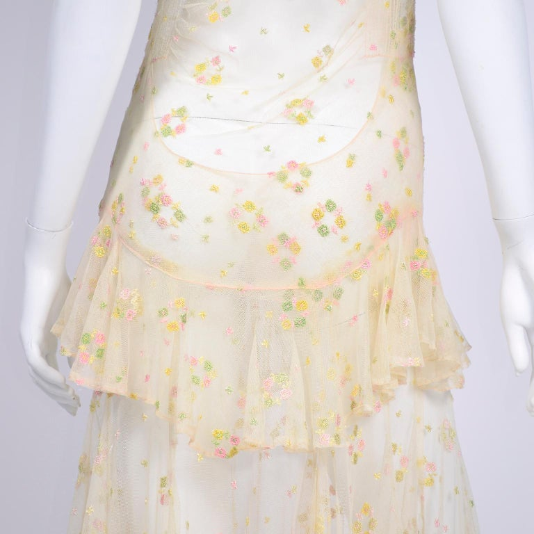 1930s Sheer Vintage Net Lace Dress w Butterfly Sleeves Embroidered w Flowers For Sale 11
