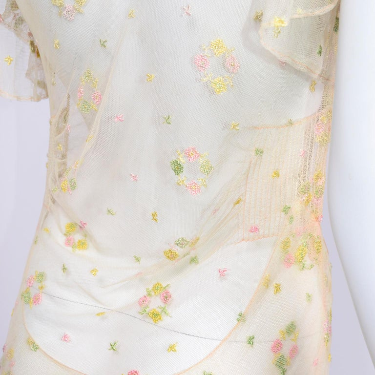 1930s Sheer Vintage Net Lace Dress w Butterfly Sleeves Embroidered w Flowers For Sale 12
