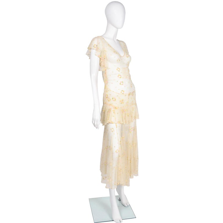 Beige 1930s Sheer Vintage Net Lace Dress w Butterfly Sleeves Embroidered w Flowers For Sale