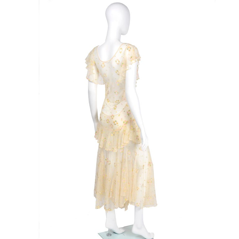 1930s Sheer Vintage Net Lace Dress w Butterfly Sleeves Embroidered w Flowers In Good Condition For Sale In Portland, OR
