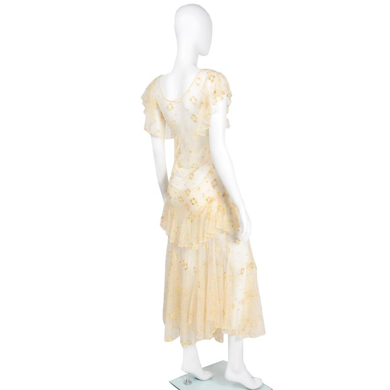 Men's 1930s Sheer Vintage Net Lace Dress w Butterfly Sleeves Embroidered w Flowers For Sale