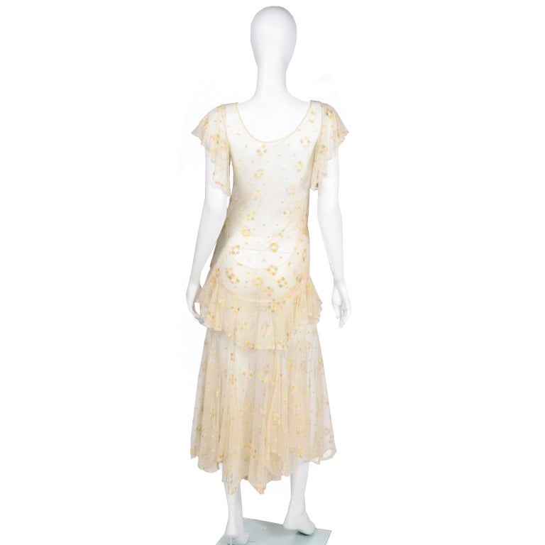 1930s Sheer Vintage Net Lace Dress w Butterfly Sleeves Embroidered w Flowers For Sale 1