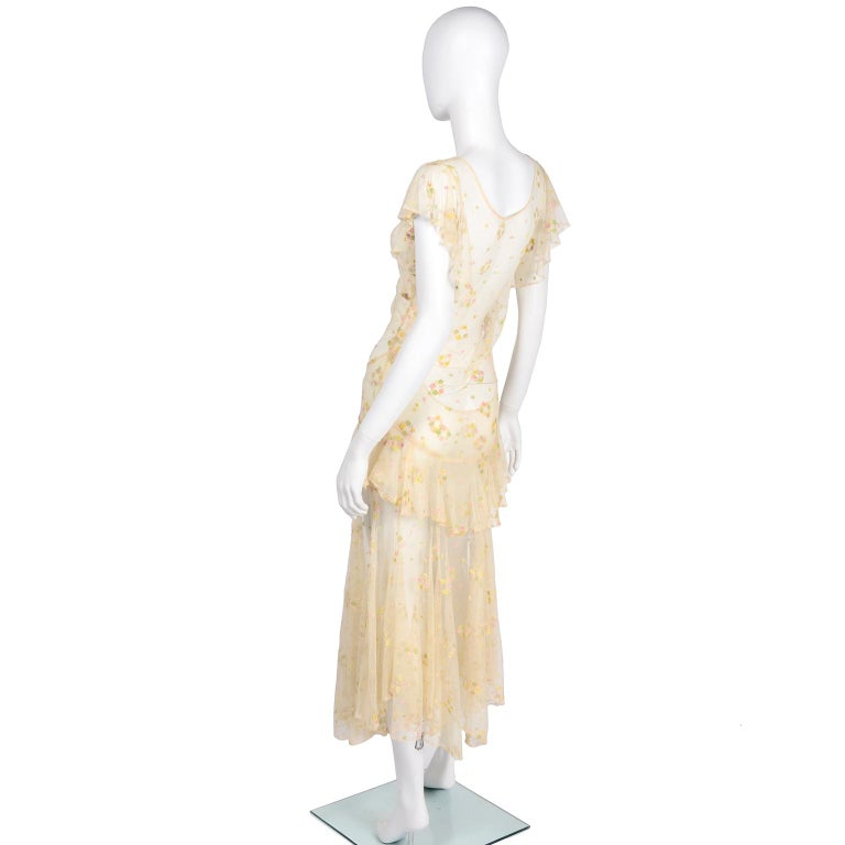 1930s Sheer Vintage Net Lace Dress w Butterfly Sleeves Embroidered w Flowers For Sale 2