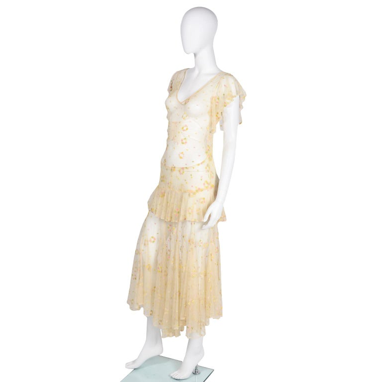 1930s Sheer Vintage Net Lace Dress w Butterfly Sleeves Embroidered w Flowers For Sale 3