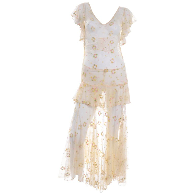 1930s Sheer Vintage Net Lace Dress w Butterfly Sleeves Embroidered w Flowers For Sale