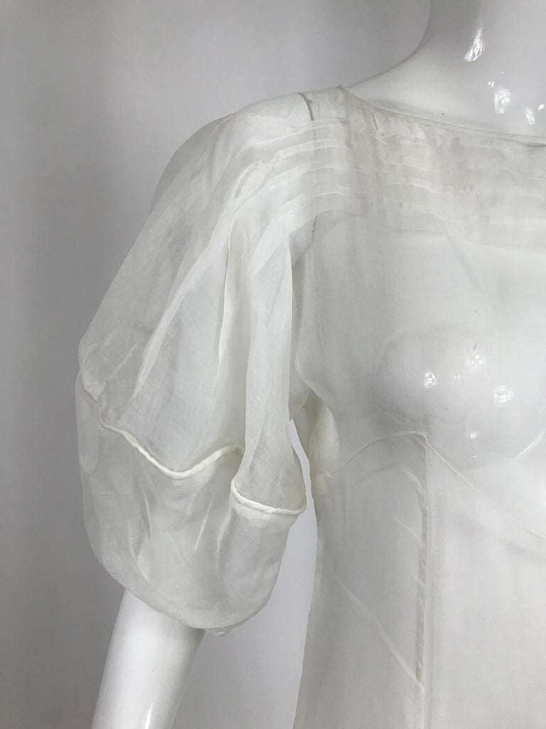 1930s Sheer White Organza Lantern Sleeve Gown  For Sale 5