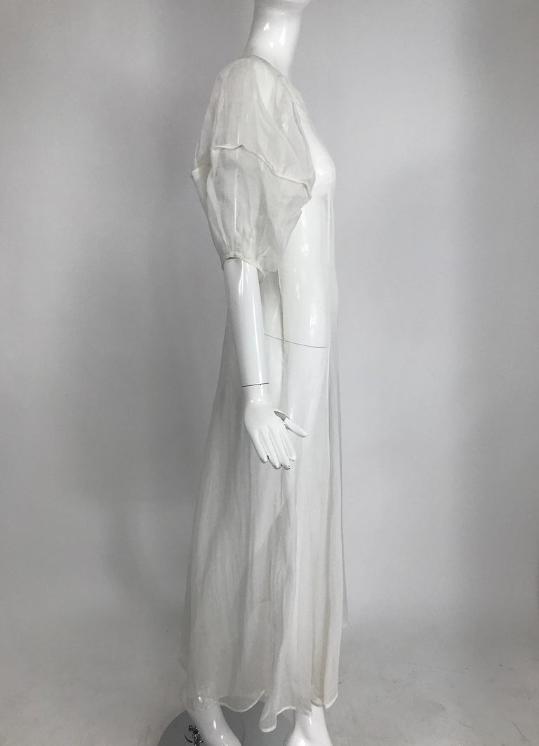 Gray 1930s Sheer White Organza Lantern Sleeve Gown  For Sale