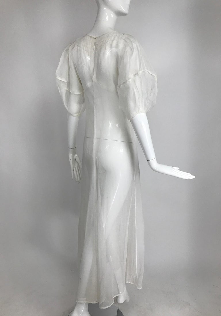 1930s Sheer White Organza Lantern Sleeve Gown  In Good Condition For Sale In West Palm Beach, FL