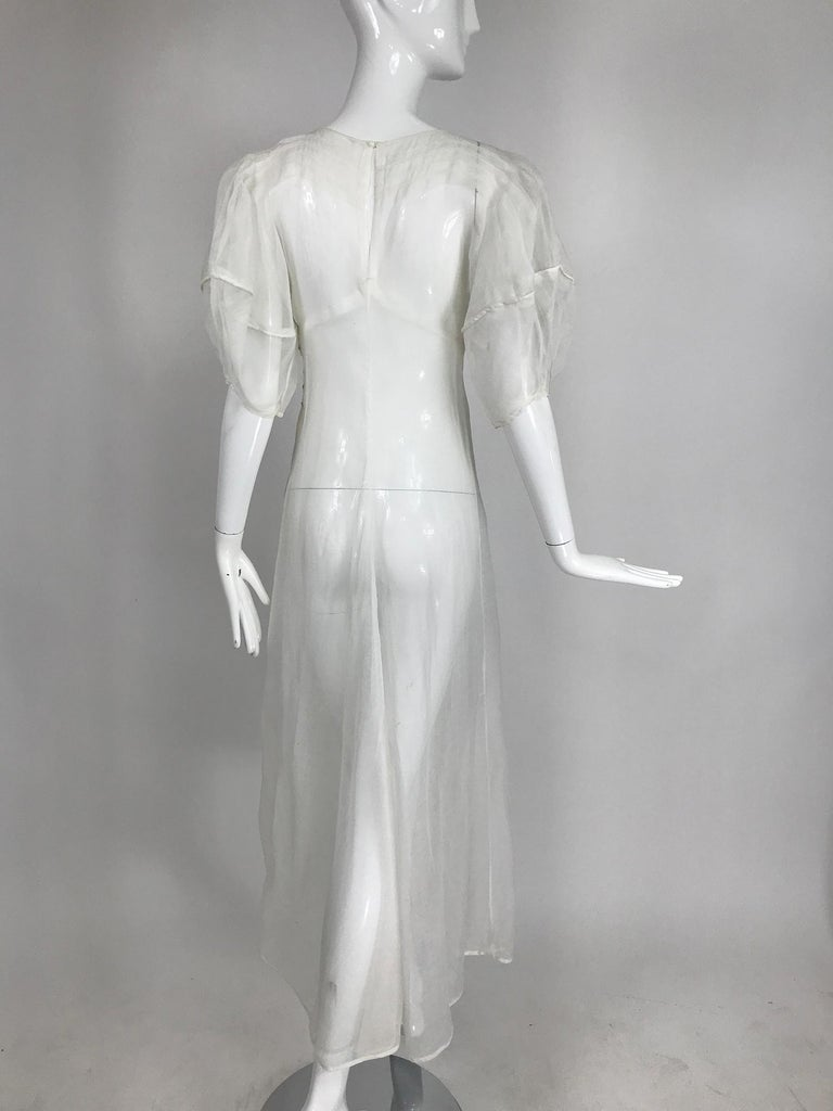 Women's 1930s Sheer White Organza Lantern Sleeve Gown  For Sale