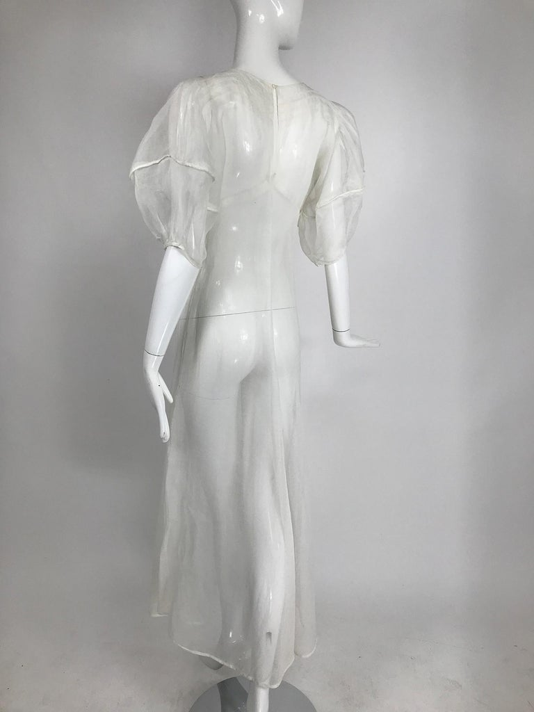 1930s Sheer White Organza Lantern Sleeve Gown  For Sale 1