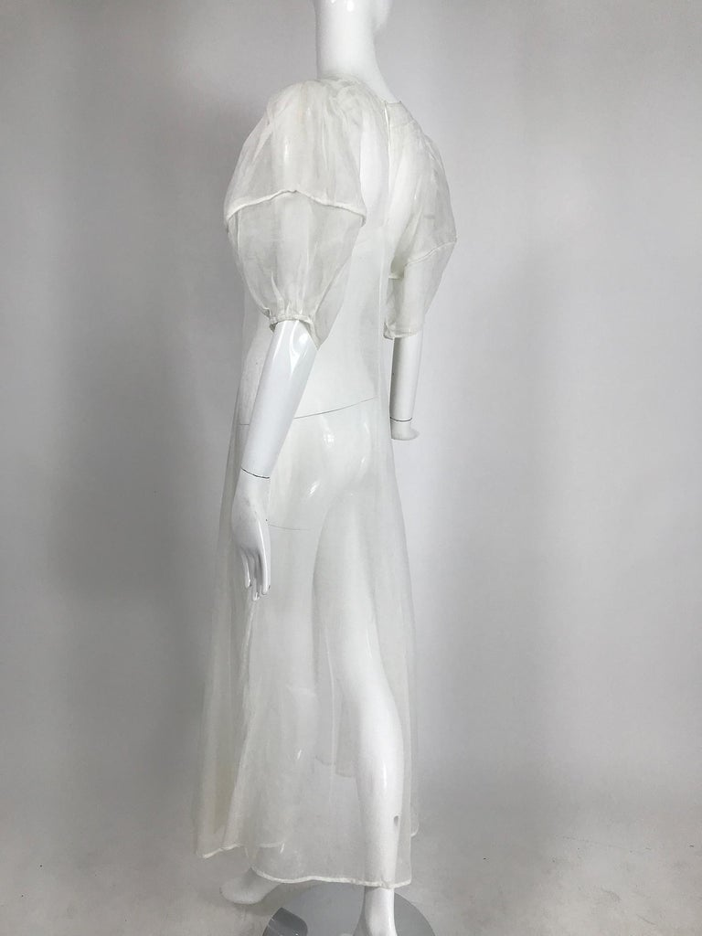 1930s Sheer White Organza Lantern Sleeve Gown  For Sale 2