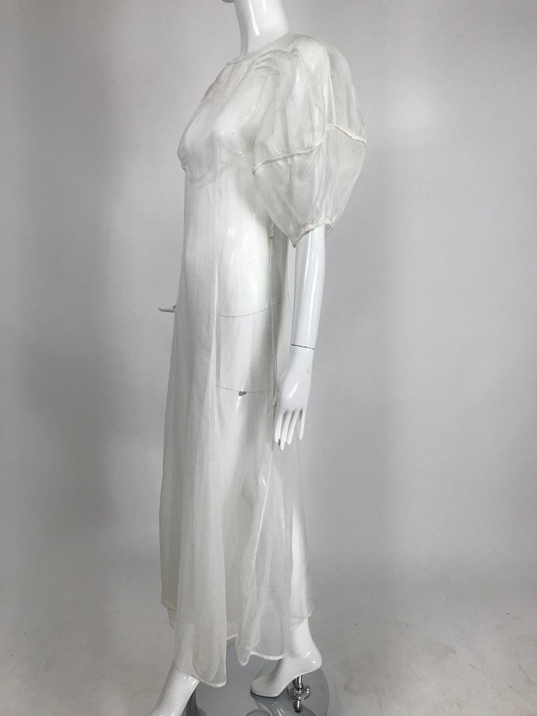 1930s Sheer White Organza Lantern Sleeve Gown  For Sale 3