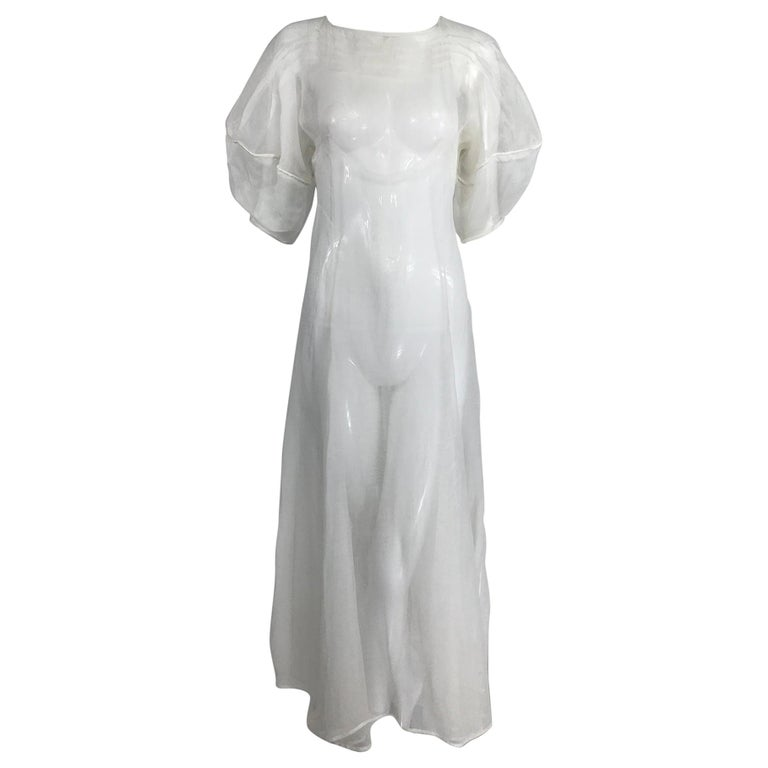 1930s Sheer White Organza Lantern Sleeve Gown  For Sale