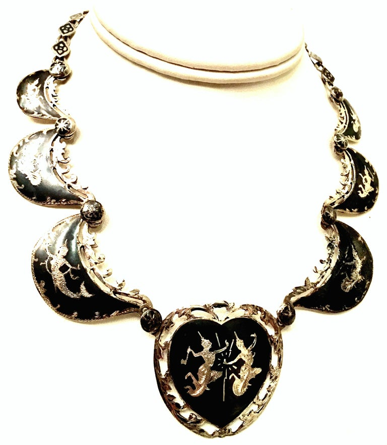 Vintage Sterling Silver Choker Style Necklace with Three Turquoise Hearts Side by Side