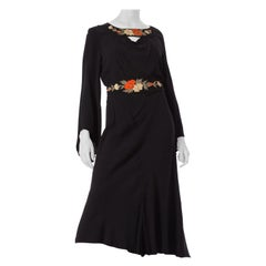 1930S Black Silk Crepe Back Satin Pleated Bell Sleeve Dress With Floral Appliqu