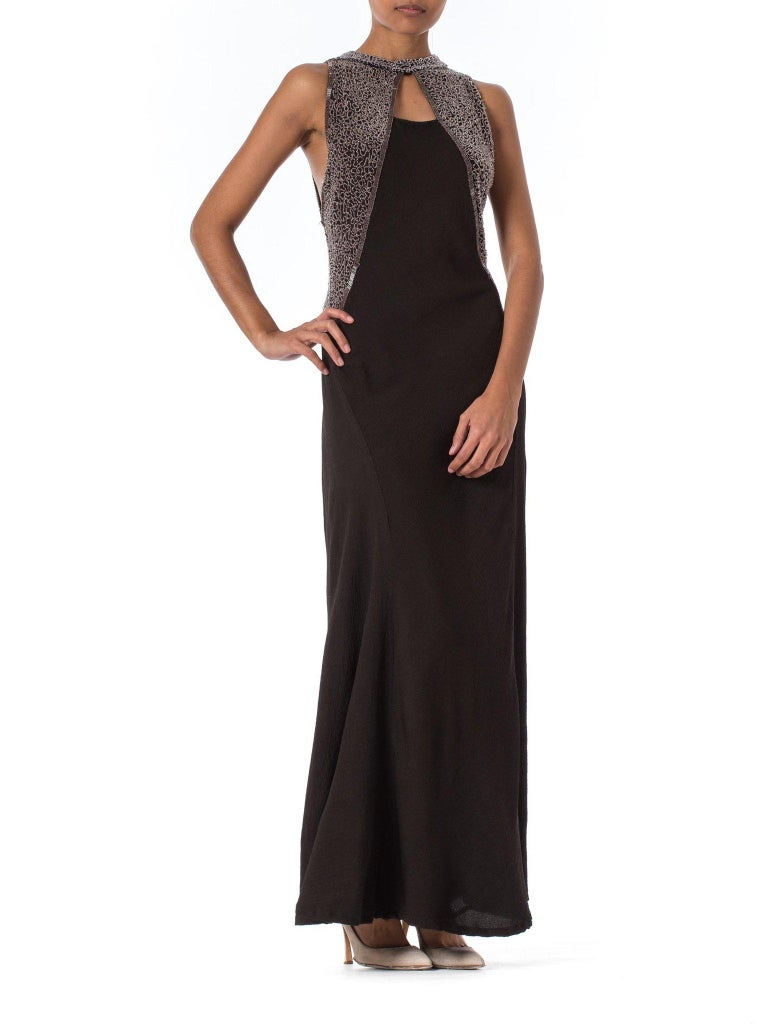 1930S Black Rayon & Silk Crepe Uniquely Patterned Bias Cut Beaded Gown With Out Back As-Is