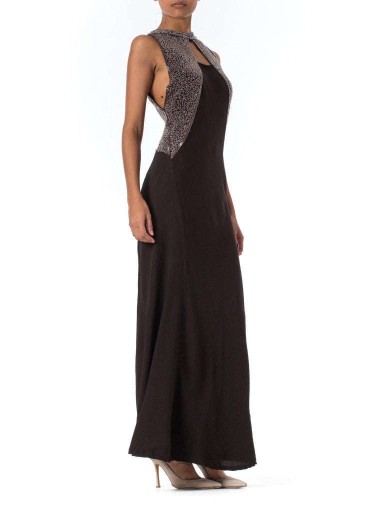 1930S Black Rayon & Silk Crepe Uniquely Patterned Bias Cut Beaded Gown With Out In Excellent Condition For Sale In New York, NY
