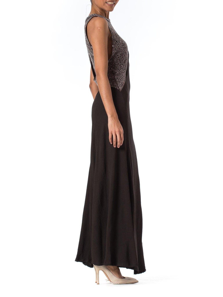Women's 1930S Black Rayon & Silk Crepe Uniquely Patterned Bias Cut Beaded Gown With Out For Sale