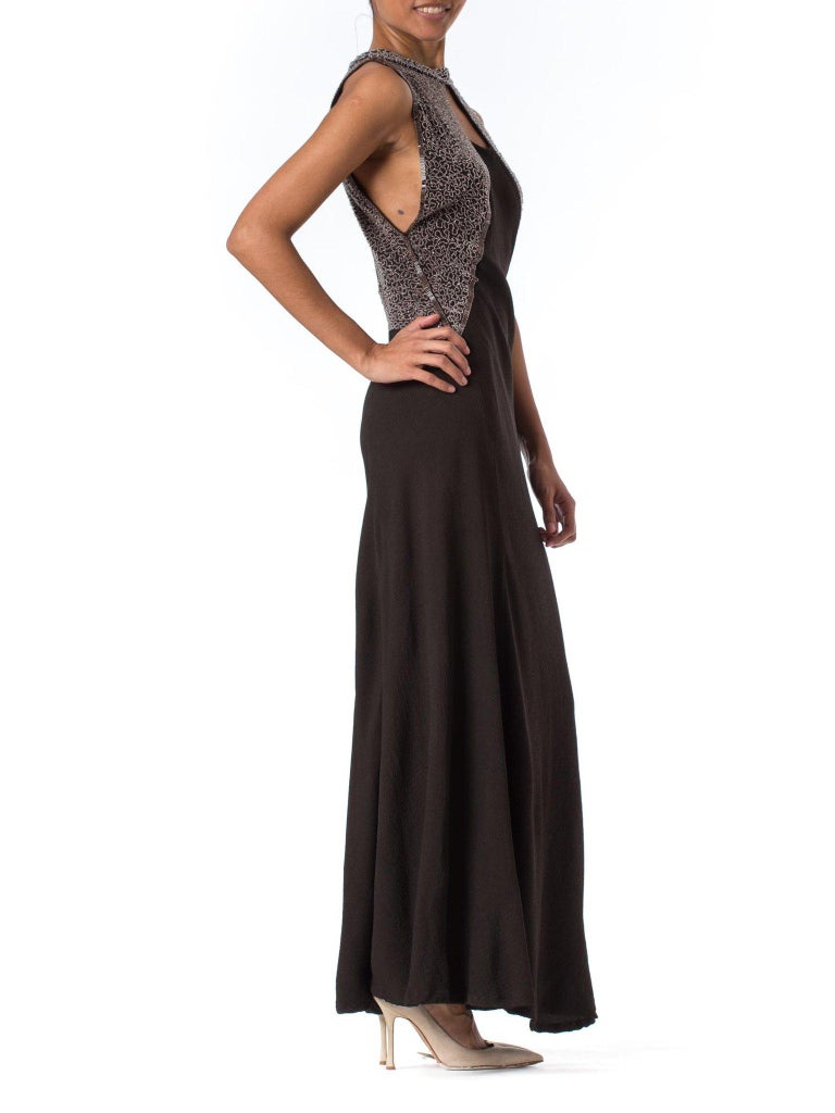 1930S Black Rayon & Silk Crepe Uniquely Patterned Bias Cut Beaded Gown With Out For Sale 1