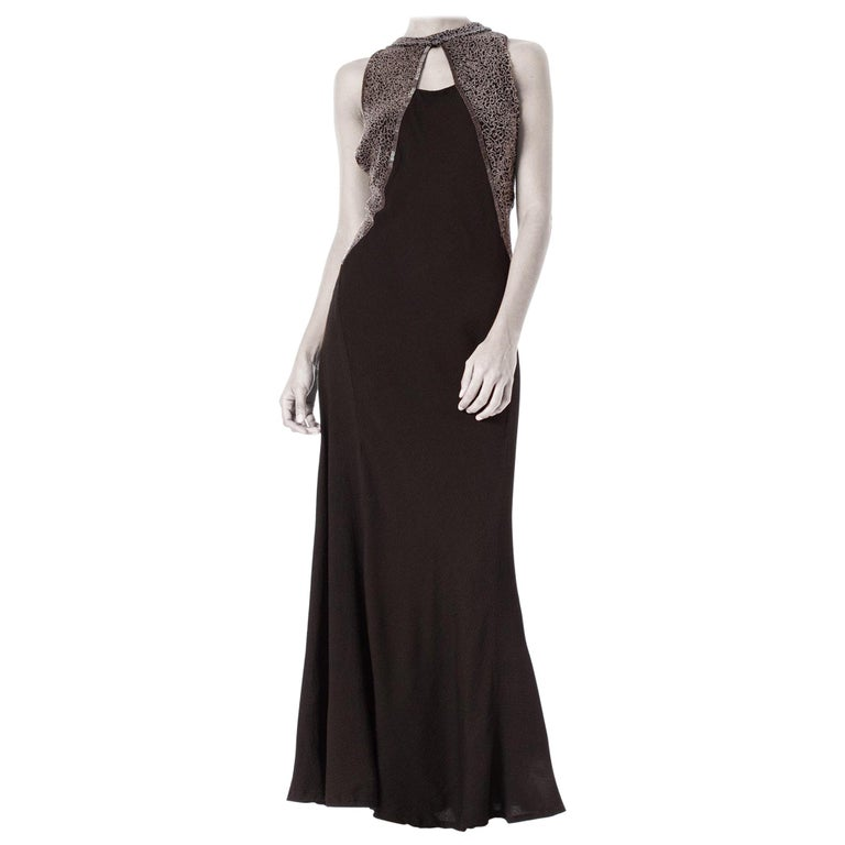1930S Black Rayon & Silk Crepe Uniquely Patterned Bias Cut Beaded Gown With Out For Sale
