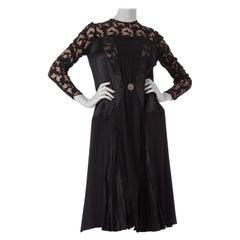 1920S Black Silk Crepe & Appliquéd Net Dress With Gorgeous Buckle Sleeves