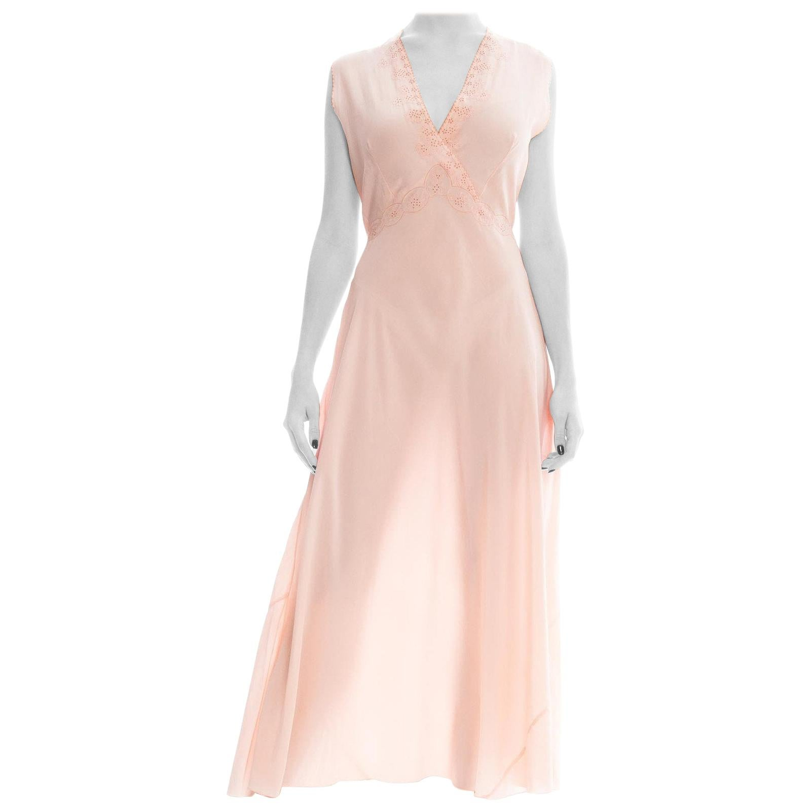 1930S Blush Pink Silk Crepe De Chine French Couture Nightgown  DressNegligee W