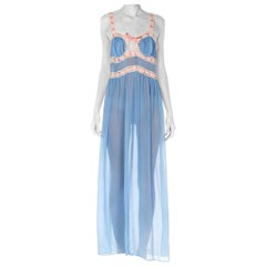 1940S Blue Silk Chiffon & Cream Lace Negligee With Pink Ribbon