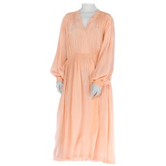 1930S Silk Smocked Long Sleeve  Negligee