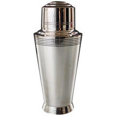 1930s Silver-Plated Cocktail Shaker Designed by Keith Murray for Mappin & Webb