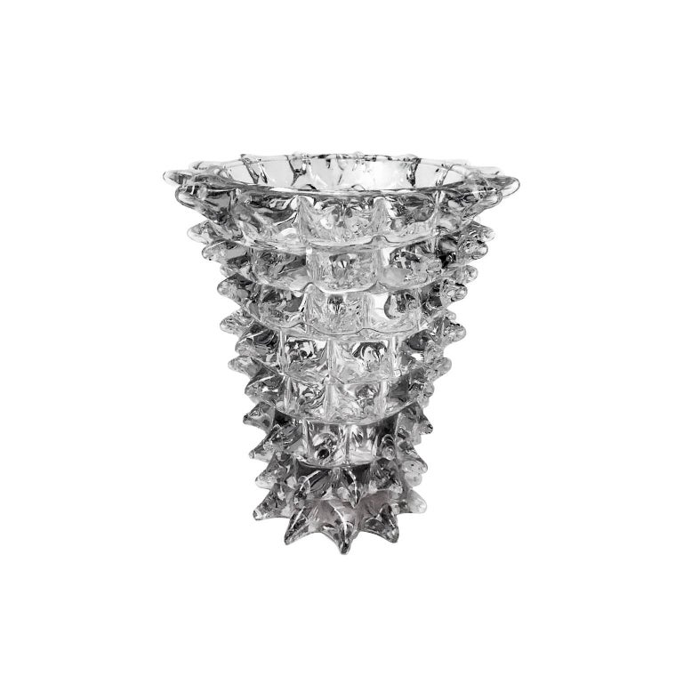 1930s Small Spiked Glass Vase by Barovier For Sale