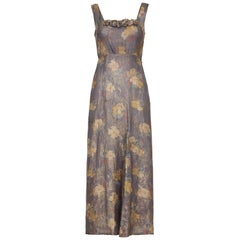 1930s Soft Grey and Gold Lame Floral Print Dress With Empire Waistband